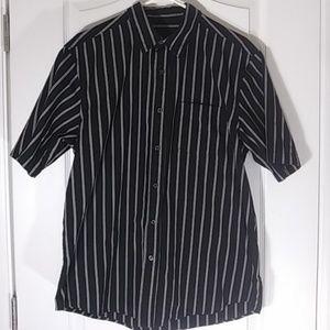 Men's medium black gray striped button up shirt